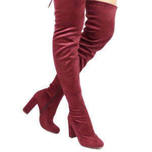 Shoes - Wine Suede Thigh High Boots Over The Knee
